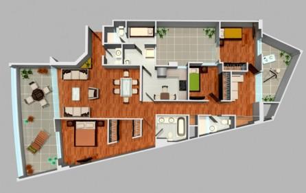 Departamento en san borja de estreno 3 dormitorios for Planos de departamentos 3 dormitorios