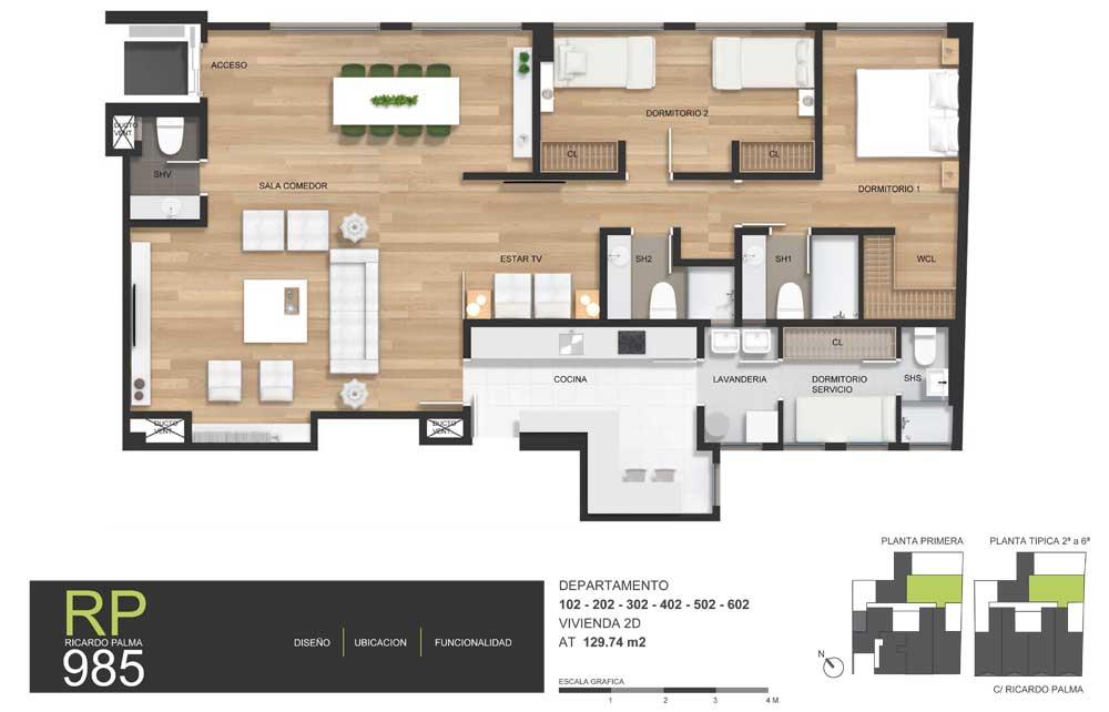 Proyecto edificio rp 985 en miraflores precios y planos for Edificio de departamentos planos